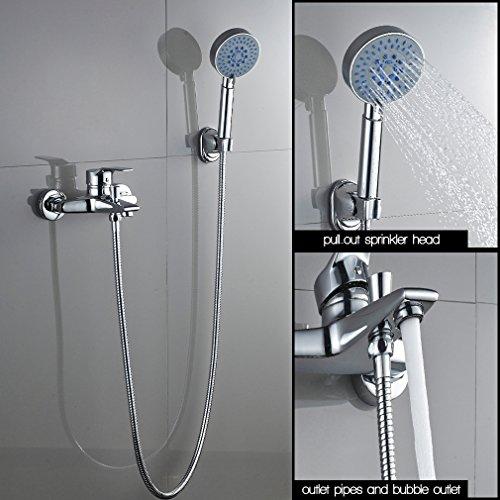 Auralum – Einhandmischer Duscharmatur mit Brausekopf und Brausehalterung, Chrom - 5