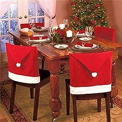 JYSPORT Weihnachten Stuhlhussen Rot Hut Stuhl Weihnachtsmützen Stuhlüberzug Schneemann Weihnachten Tisch Partei Dekor (6PCS)