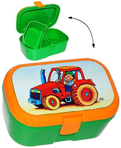 """Lunchbox / Brotdose - """" Traktor & Bauernhof """" - mit extra Einsatz / herausnehmbaren Fach - Brotbüchse Küche Essen - für Mädchen & Jungen - Traktoren / Landmaschine - Tiere Fahrzeug / Auto - Kinder Vesperdose - Brotzeitdose / Fächer / Trennwand - Fächern - Brotzeitbox - Brotzeit Tasche - Vesperbrotdose"""