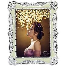Landove Marco de Foto Plateado de la Flor Vintage 5x7 pulgadas para Decoración Boda Friends Family