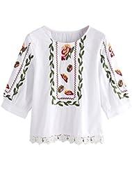 LILICAT Mujeres blusa de encaje Floral Casual Tops flor suelta impresa camiseta (XXL)