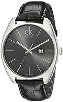 Calvin Klein K2F21107 - Reloj analógico de caballero de cuarzo con correa de piel negra de Calvin Klein