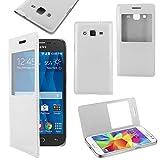 ebestStar   Etui Samsung Galaxy Core Prime SM G360F, 4G SM G361F VE   Housse Coque Etui Slim Portefeuille avec Fenêtre View, Couleur Blanc [Dimensions PRECISES de votre appareil : 130.8 x 67.9 x 8.8 mm, écran 4.5'']