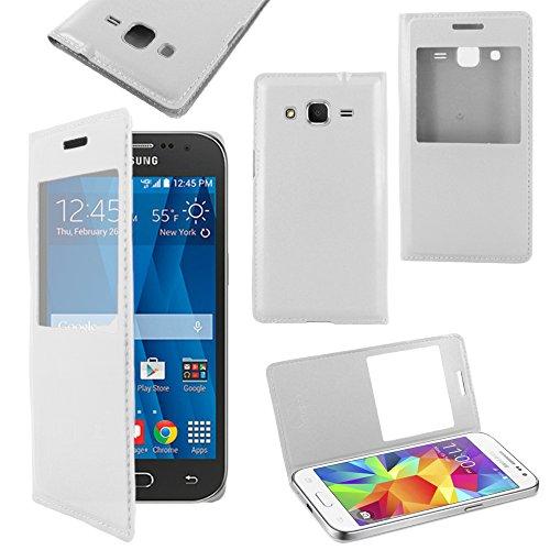 ebestStar   pour Samsung Galaxy Core Prime SM G360F, 4G SM G361F VE   Housse Coque Etui Slim Portefeuille avec Fenêtre View, Couleur Blanc [Dimensions PRECISES de votre appareil : 130.8 x 67.9 x 8.8 mm, écran 4.5'']
