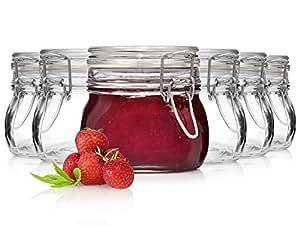 Bormioli Fido Gläser mit Bügelverschluss 6 teilig   Füllmenge 500 ml   Luftdichte Konservierung durch den Gummiring sowie den Drahtbügelverschluss