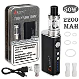 LoVaper E Zigarette Starter set 50W Box Mod kit, 2200mAh Akku, Top Refill 0.5ohm/2.0ml Verdampfer kopf Tank, Box Mod mit 18650 Integriertem Batterie, E Shisha Dampfer Vape Starterset Ohne liquid Ohne Nikotin (schwarz)