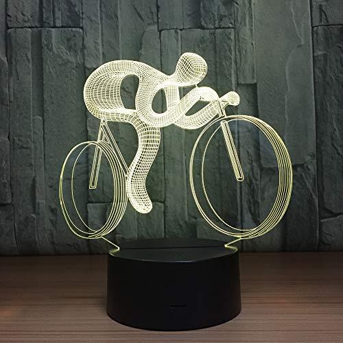 BFMBCHDJ Regalos de vacaciones Lámpara de mesa LED 3D Lámpara de forma de bicicleta 3D LED 7 colores USB Deco Lights Riding Sports Light Drop Ship