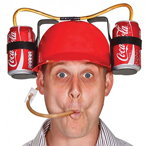 shoperama Bauarbeiter Helm mit Bierdosen-Halterung und Trinkvorrichtung Hut Getränke-Halter, Farbe:Rot