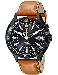Timex Herren-Armbanduhr Analog Quarz Leder T2P427