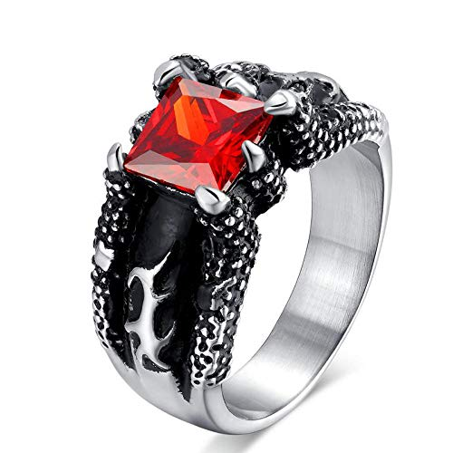 Mushtaq Vintage-Schmuck Übertrieben Ring Red Stone Herrenring Hochzeit Urlaub Abendessen Geschenk (Vintage-ring Stone Red)