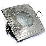 Decken Einbauspots IP65 Aqua Bad & Dusche Feuchtraum Nassraum, eckig oder rund, 12V und 230V für LED oder Halogen Leuchtmittel (eckig edelstahl-gebürstet)
