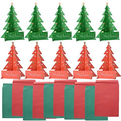 10pcs Tarjetas Felicitación Arbol Navidad Regalo