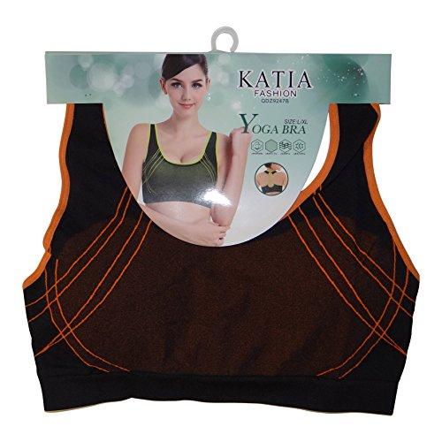 Palleon Damen Sport BH Bustier Stretch ohne Bügel Orange