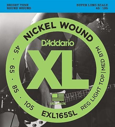 D'Addario Cordes en nickel pour basse D'Addario EXL165SL, Custom Light, 45-105, cordes extra-longues