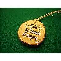 Personalizza la tua decorazione artigianale per l'albero di Natale, decoro ornamento palla di Natale personalizzata in legno rustico con il tuo nome. Il più bel Natale di sempre