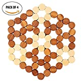 #8: HOKIPO® Bamboo Wooden Set of 4 Table Coaster / Pan Pot Holder (Hexagon 20 x 20 cm)