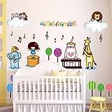 Wandtattoos WandbilderWandaufkleber zeichnen Kindergarten Klassenzimmer Kinder Zimmer Schlafzimmer Babyzimmer Cartoon Dekoration Aufkleber Musik Karneval Tiere 50 * 70cm