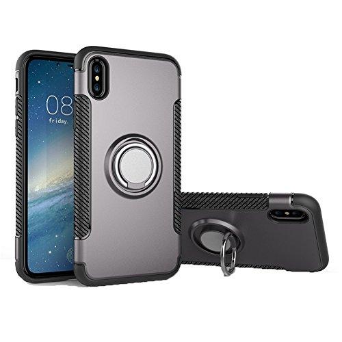 Uniqstore Coque pour téléphone pour Apple iphone X Case pour voiture Support magnétique Housse antichoc avec support de support d'anneau-rouge-or gris