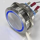 Metzler-Trade – Großer LED-Drucktaster – XXL Ø 40 mm – rostfreier Edelstahl – wasserdicht – Öffner/Schließer - AC/DC (Blau)