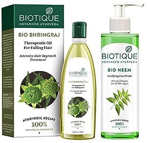 Biotique Bio Neem Purifying Face Wash, 200 ml And Biotique Bio Bhringraj Oil,100 ml