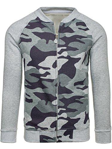 BOLF Herrenpullover Sweatshirt Sweatjacke Langarm Pullover 1A1 Grau_2538A