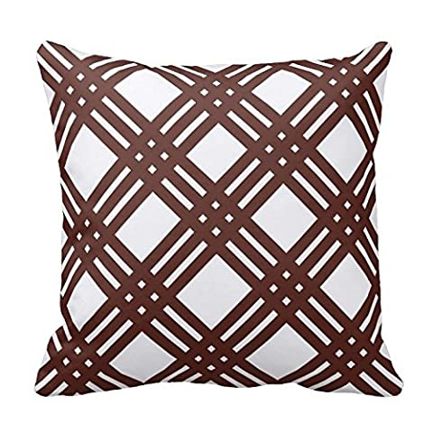 Brown and White Trellis Design Decorative Pillow Case Covers Geometric Lattice Pattern for Sofa Two Sides 16X16