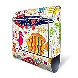BANJADO Design Briefkasten mit Zeitungsfach, 2 Schlüssel, A4 Einwurf, silber pulverbeschichtet, mit Motiv Lustige Fische