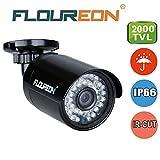 Floureon Caméra de Surveillance AHD 2000TVL 960P 1.3MP Vision Nocturne 20M Max IR-CUT Caméra Étanche IP66 pour Éxtérieur Conçu pour DVR AHD