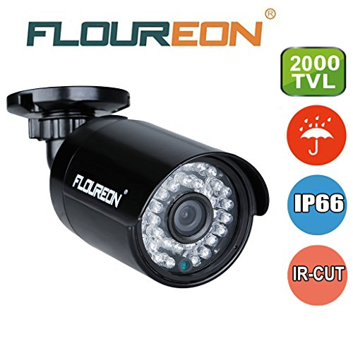 FLOUREON Caméra de Surveillance AHD 2000TVL 960P 1.3MP Vision Nocturne 20M Max IR-Cut Caméra Étanche IP66 Éxtérieur Conçu pour DVR Kit de Sécurité AHD