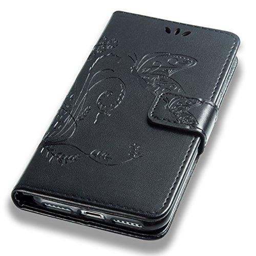 Cozy Hut Custodia portafoglio / wallet / libro in pelle per iPhone 7 (4.7 zoll) Custodia in Pelle Stampata Morbida PU Case Cover - Cover elegante e di alta qualità,Funzione di sostegno Stand,con la co nero