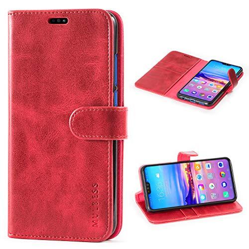 Mulbess Honor 8X 2018 Hülle, Leder Flip Case mit Brieftasche Schutzhülle für Huawei Honor 8X 2018 Tasche,Weinrot