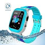 Jaybest Kinder Smartwatch Telefon Uhr,wasserdichte Kid Smart Watch für Jungen Mädchen mit LBS Tracker SOS Anruf Kamera Anti-Lost Voice Chat (Blue)