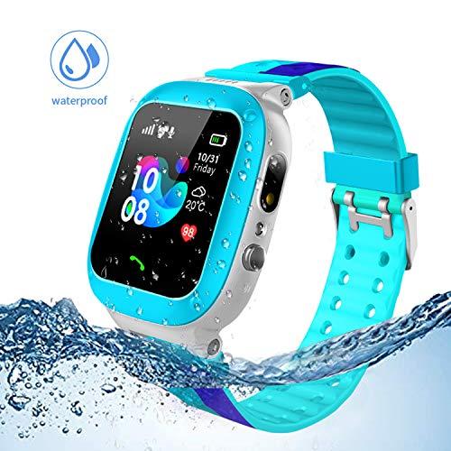 Jslai smartwatch Enfants traqueur LBS/GPS, Montre Intelligente téléphone Compatible Android iOS pour Enfants 3-12 caméras à Distance SOS Filles (Bleu)