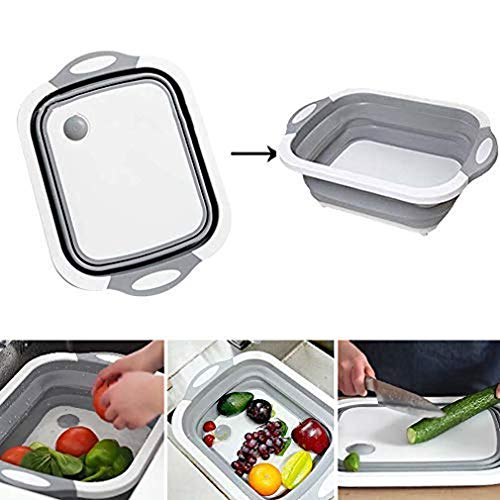 Dragon Honor FUB 4 in 1 Multifunction Foldable Cutting Board Washing Basket Kitchen Home Cooking Gadget -