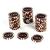 50 Poker-Chips Laser-Chips Wert 10000-12g Metallkern Poker Texas Hold`em Black Jack Roulette – braun – reflektierend