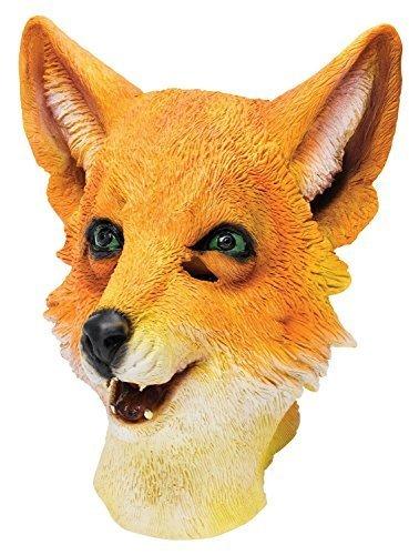 Fancy Me Erwachsene Damen Herren Rubber Das Gesicht Bedeckend Maske Animal Halloween Kostüm Kleid Outfit Zubehör - Fox