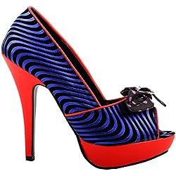 Mostrar historia rojo azul negro Peep-Toe lunares arco alta noche baile de tacón, LF30478BU35, 35EU, rojo