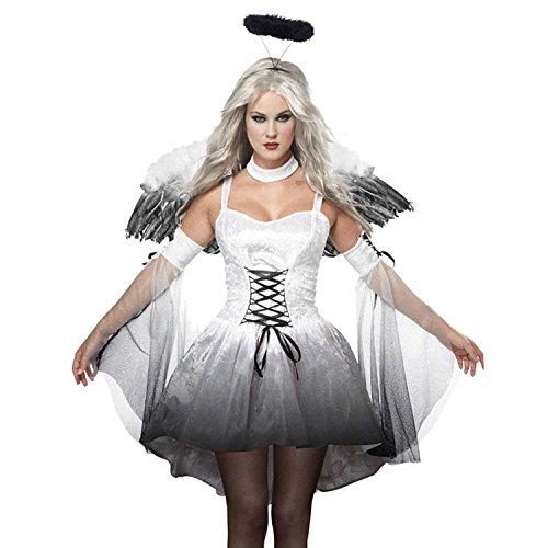 Sasairy Damen Dark Angel Kleider Fancy Kostüme Karikatur Puppe Weihnachten Cosplay Party Clubwear EU Größe 34-36,Weiß