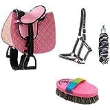 rosa Sattel-Set, Halfter, Führstrick, Putzbürste f. Mini-Shetty & Holzpferd Pony pink