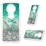 Motorola Moto G6 Play Hülle Case Handyhülle Stoßfest Transparent Tasche 3D Glitter Dynamisch Treibsand Durchsichtige Schutzhülle Handytasche TPU Silikon Backcover Blauer Schmetterling