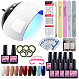 Kit Vernis Semi Permanent Débutant 24W Lampe UV/LED 10 pc Gel Polish Soak Off Kit de Nail Art Outil Décor Gel Manucure Vernis à Ongle Topcoat Basecoat Ongle Kit