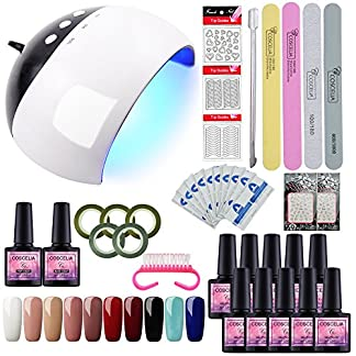 Saint-Acior 24W UV/LED Lámpara de Uñas Secador de Uñas 10pcs Esmaltes Semipermanentes Soak Off 8ml Top Coat Base Coat Set Manicura y Pedicura Nail Art