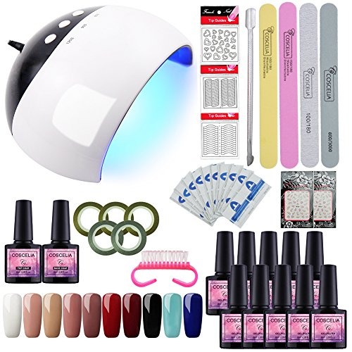 Saint-Acior 24W LED Lámpara de Uñas UV Secador 10pcs Esmaltes Semipermanentes Soak Off 8ml Top Coat Base Coat Set Manicura y Pedicura Nail Art