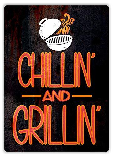 RABEAN Chillin and Grillin Eisen Malerei Retro Metall Plaque Warnschild Vintage Zinn Kunstwanddekor Dekorative für Store Yard Bar Coffee House