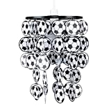 MiniSun - Pantalla de lámpara infantil de techo con balones de fútbol - blanco y negro