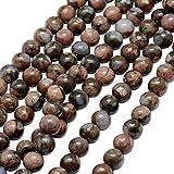 nbeads 2 Stränge 47 Stück/Strang Edelsteine Runde Perlen Naturstein Perlen für Schmuckherstellung, 8~9 mm, Loch: 1 mm, 39,1 cm