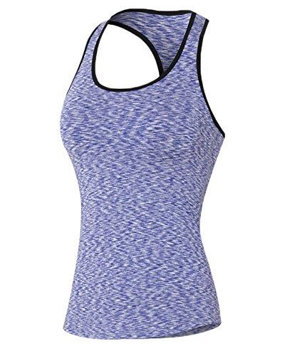 Donna in maglia camuffamento di yoga fitness training strato di base maniche T-shirt Viola