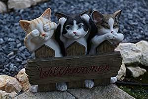 Eingangsschild Türschild Willkommen Katzen Deko Gartendekoration Figur Kätzchen
