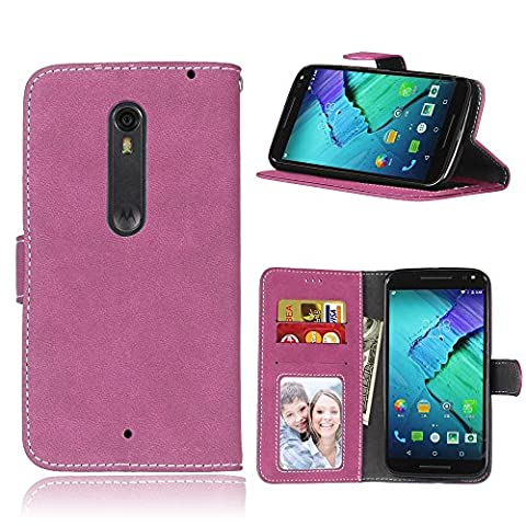 MOTO X Style Case,BONROY® MOTO X Style Retro Matte Leather PU Phone Holster Case, Flip Folio Book Case, Wallet Cover with Stand Function, Card Slots Money Pouch Protective Leather Wallet Case for MOTO X Style