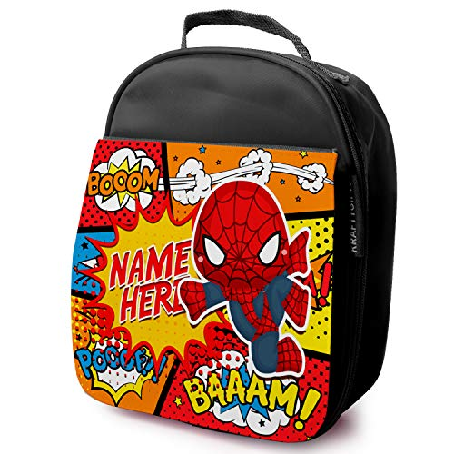 KS127 Sac à déjeuner pour enfant Motif Spiderman Super-héros, Nylon, Noir, Taille M